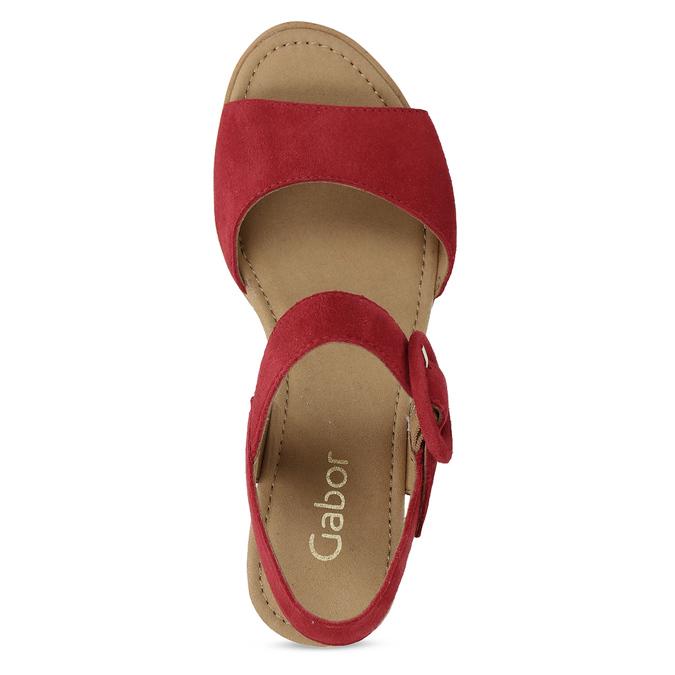 Kožené červené sandály na přírodní platformě gabor, červená, 663-5606 - 17