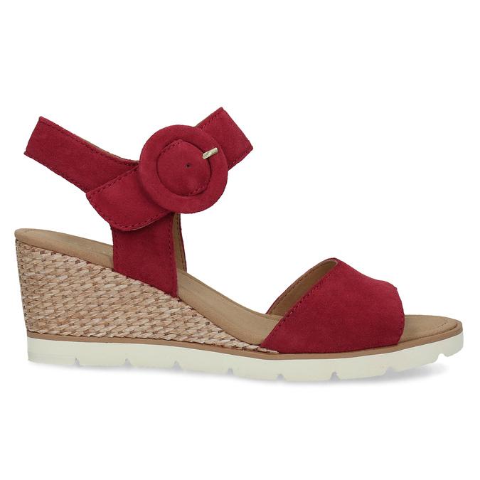 Kožené červené sandály na přírodní platformě gabor, červená, 663-5606 - 19