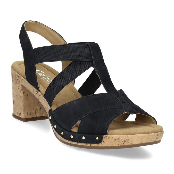 Černé dámské sandály z broušené kůže gabor, černá, 663-6603 - 13