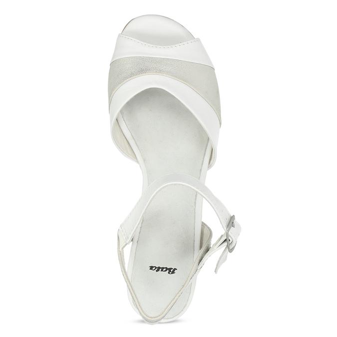 Bílé kožené sandály se stříbrnými detaily bata, bílá, 664-1602 - 17