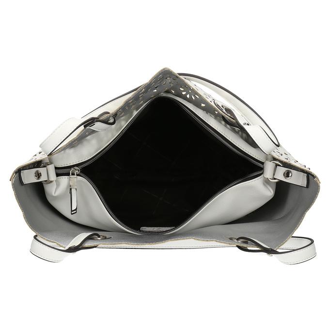 Bílá kabelka s vykrojením a perforací bata, bílá, 961-1944 - 15