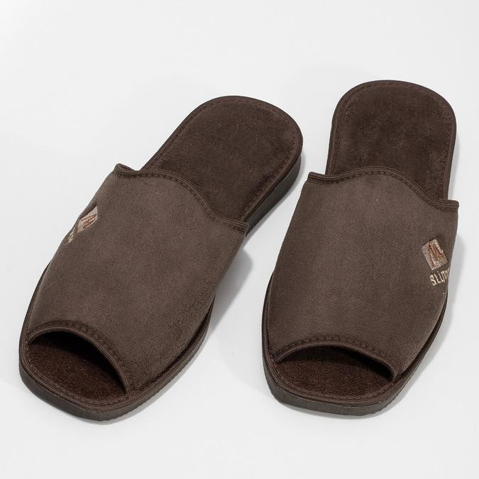 Pánské hnědé domácí nazouváky bata, hnědá, 879-4606 - 16