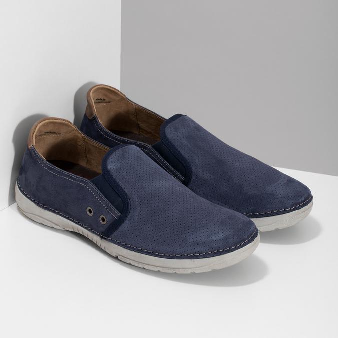 Pánské slip-on boty s perforací weinbrenner, modrá, 836-9687 - 26