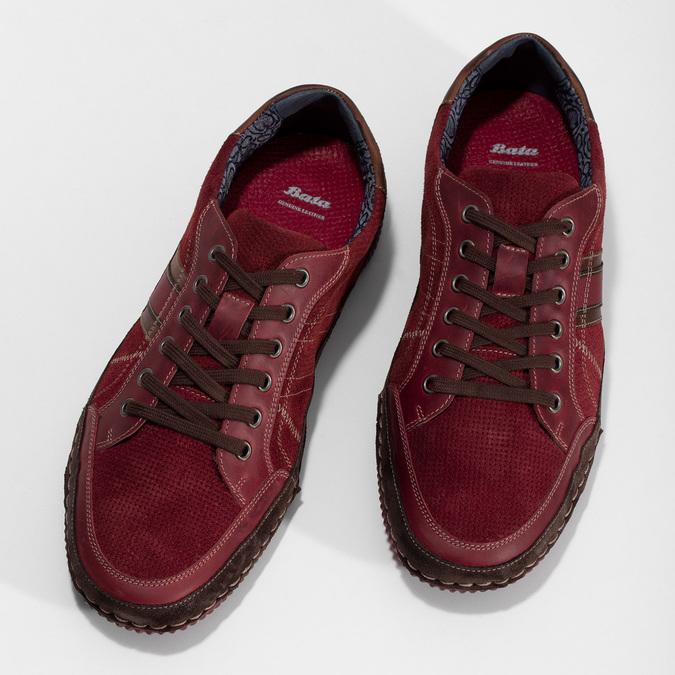 Červené pánské ležérní tenisky s prošíváním bata, červená, 846-0730 - 16