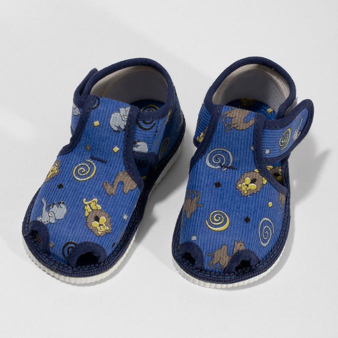 Modré dětské přezůvky se vzorem bata, modrá, 179-9630 - 16