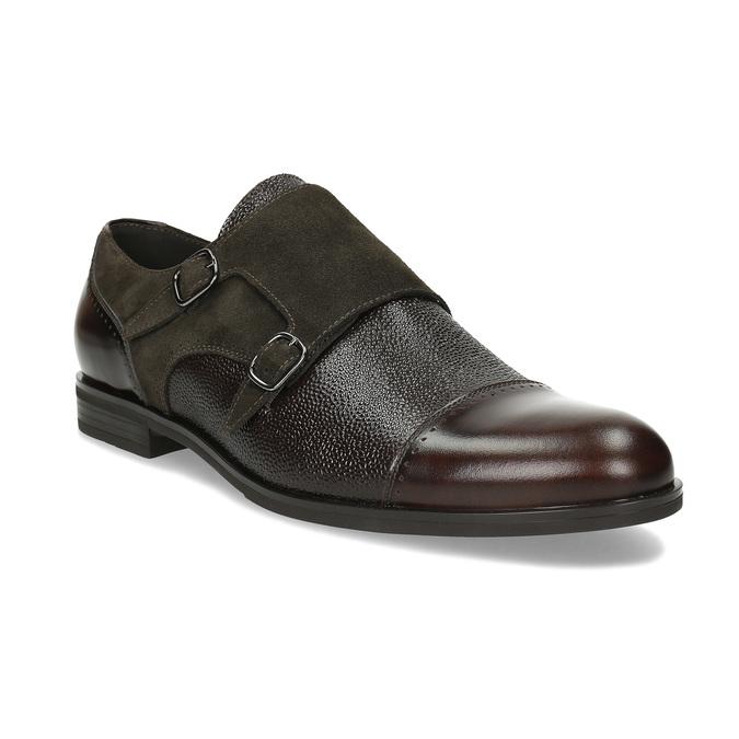 Pánské kožené Monk Shoes polobotky conhpol, hnědá, 826-4626 - 13