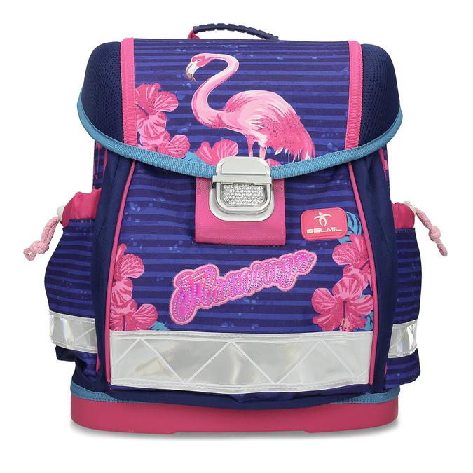 Modrá školní aktovka s růžovými detaily belmil, růžová, 969-5748 - 26