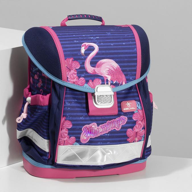 Modrá školní aktovka s růžovými detaily belmil, růžová, 969-5748 - 17