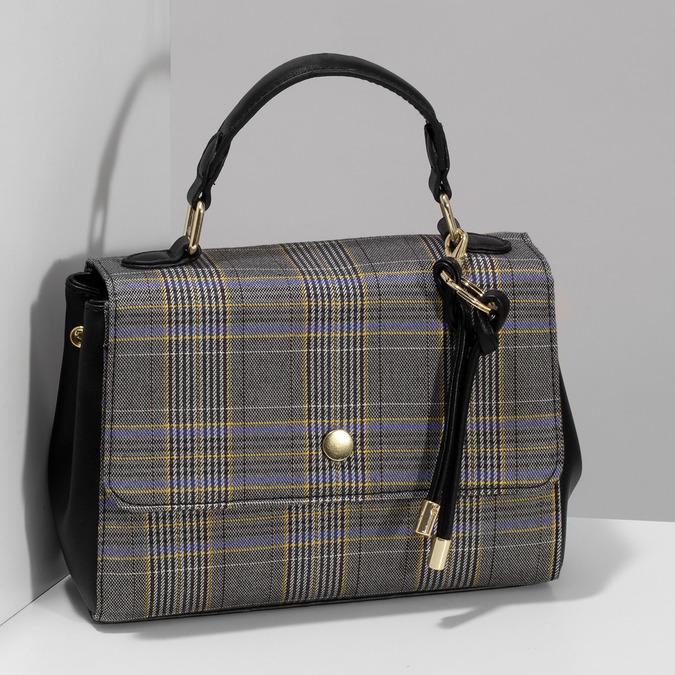 Černá kabelka s károvaným vzorem bata-red-label, černá, 961-6982 - 17