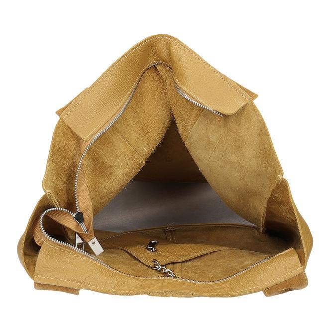 Žlutá kožená kabelka s prošitím bata, žlutá, 964-8221 - 15