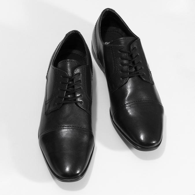 Černé pánské kožené Derby polobotky bata, černá, 824-6601 - 16