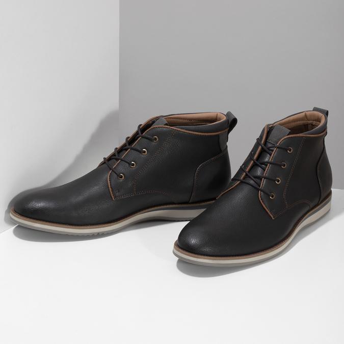 Černá pánská kotníčková obuv s prošitím bata-red-label, černá, 821-6665 - 16