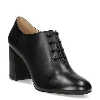 Kotníčkové kožené kozačky na podpatku bata, černá, 624-6613 - 13