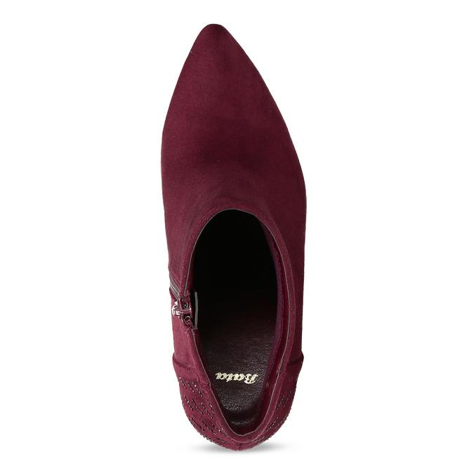 Dámská kotníková obuv na stabilním podpatku bata, červená, 699-5605 - 17
