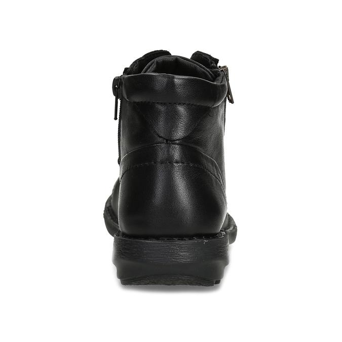 Kožená dámská černá kotníčková obuv bata, černá, 524-6617 - 15