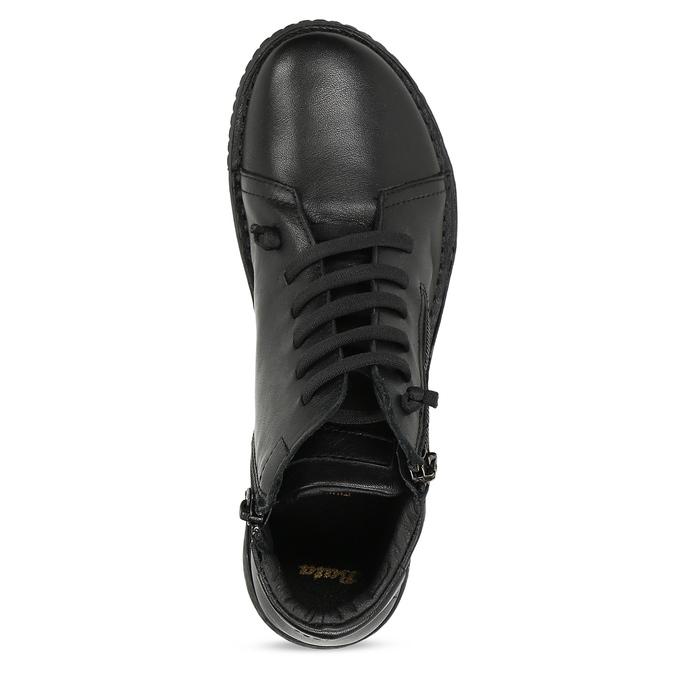 Kožená dámská černá kotníčková obuv bata, černá, 524-6617 - 17