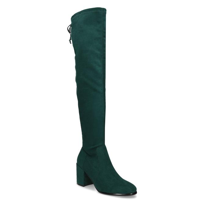 Dámské vysoké zelené kozačky se šňůrkami bata, zelená, 699-7609 - 13