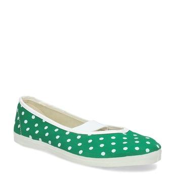 Zelené dětské přezůvky s puntíky bata, zelená, 379-7100 - 13