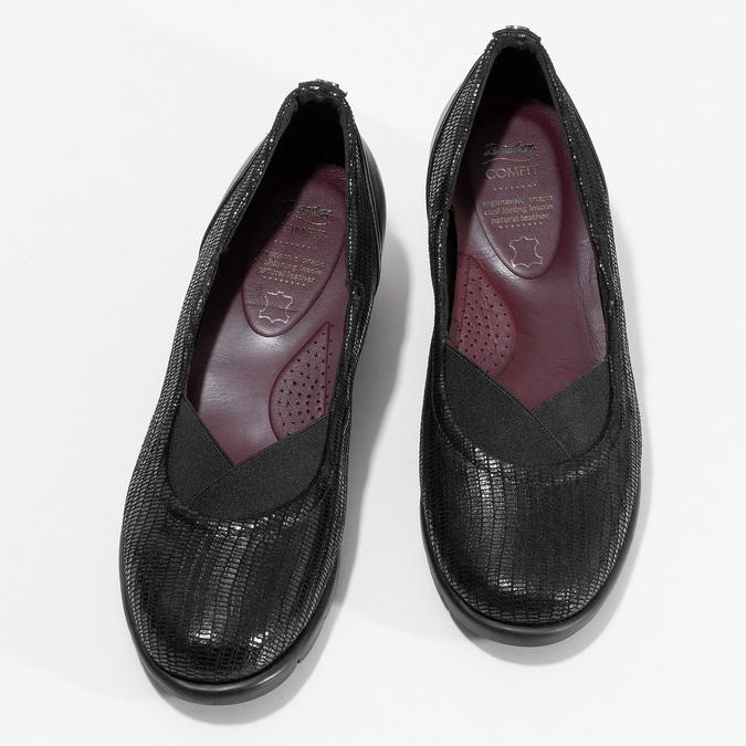 Kožené černé dámské baleríny na klínku comfit, černá, 526-6605 - 16