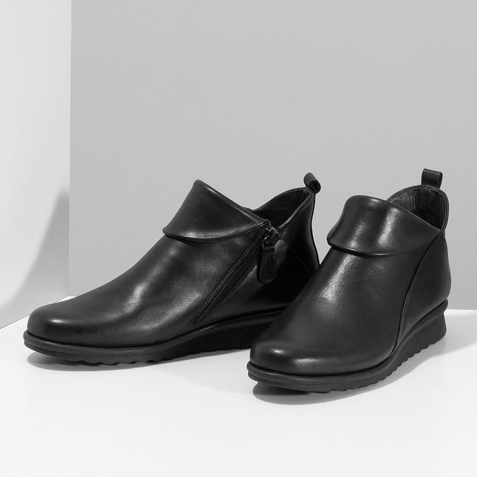 Dámské černé kožené kotníčkové kozačky comfit, černá, 594-6607 - 16