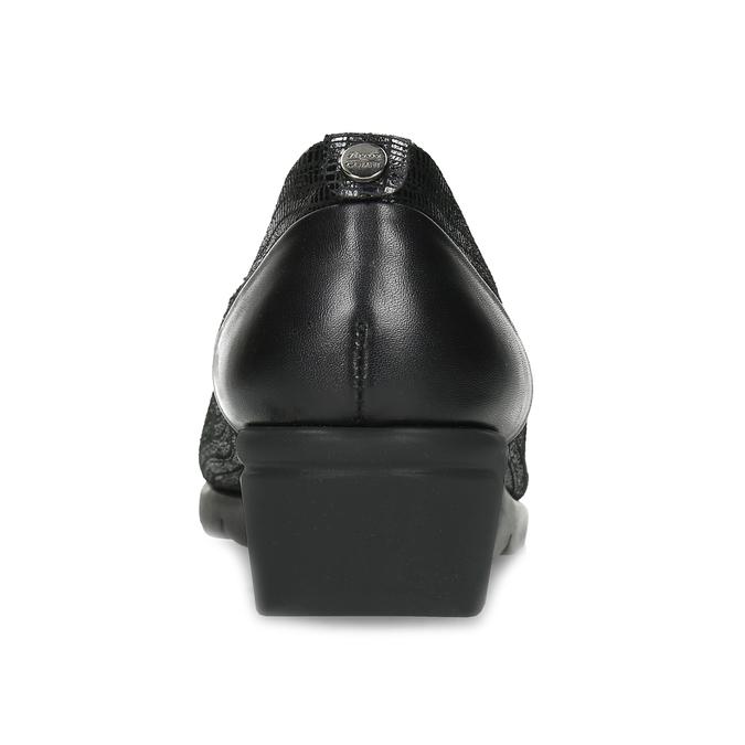 Kožené černé dámské baleríny na klínku comfit, černá, 526-6605 - 15