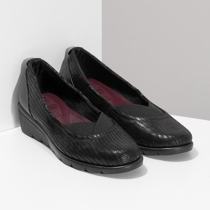 Kožené černé dámské baleríny na klínku comfit, černá, 526-6605 - 26