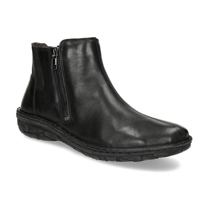Černé dámské kotníčkové kožené kozačky bata, černá, 594-6624 - 13