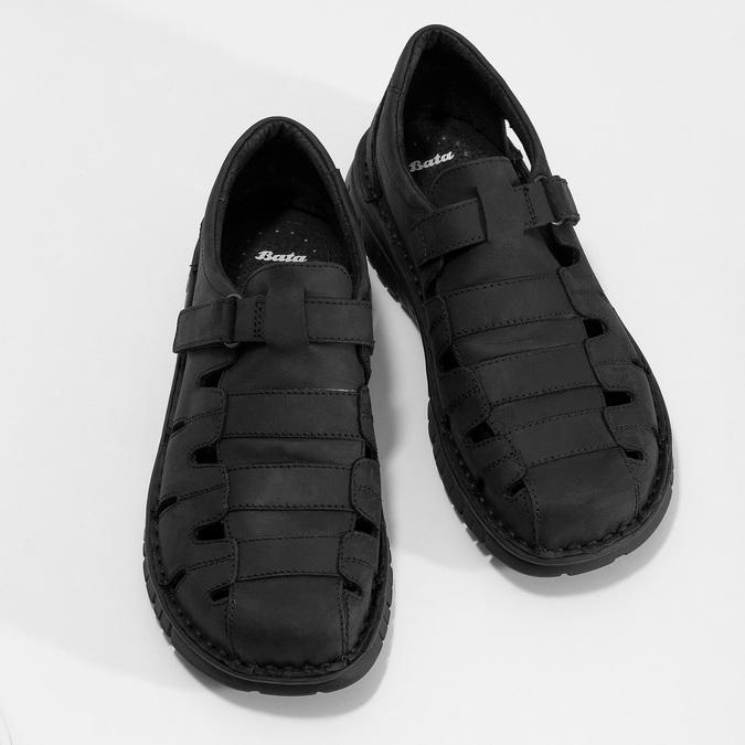 Pánské kožené černé sandály bata, černá, 866-6852 - 16
