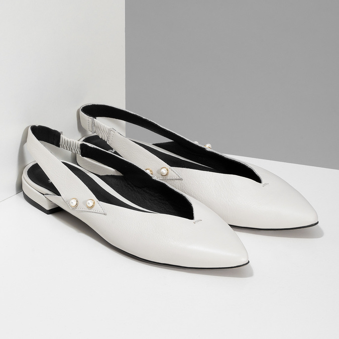 Kožené bílé Sling-back lodičky bata, bílá, 524-1601 - 26