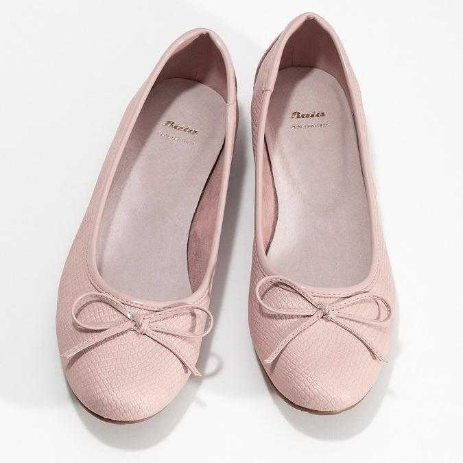 Růžové dámské baleríny s mašlí bata, růžová, 521-8651 - 16