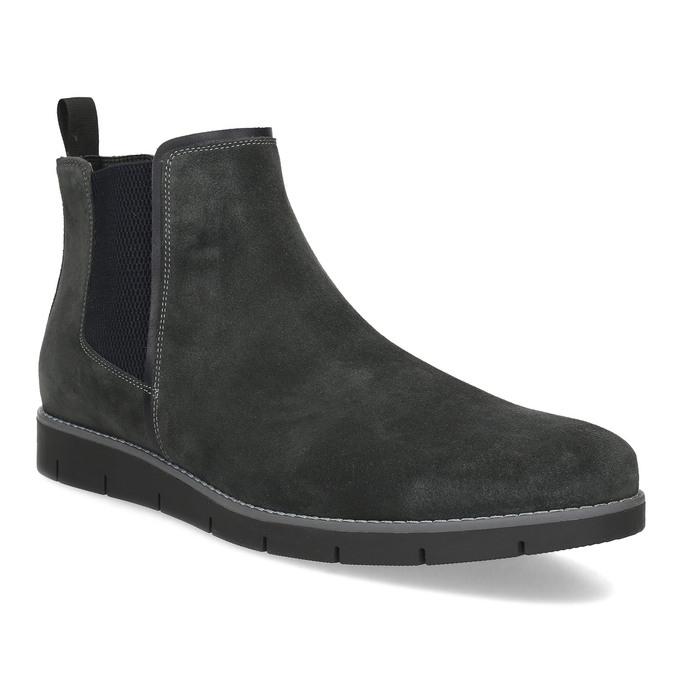 Šedá pánská kotníčková obuv z broušené kůže flexible, šedá, 823-2700 - 13