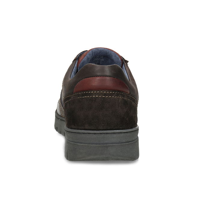 Hnědé kožené tenisky s prošitím bata, hnědá, 846-4622 - 15