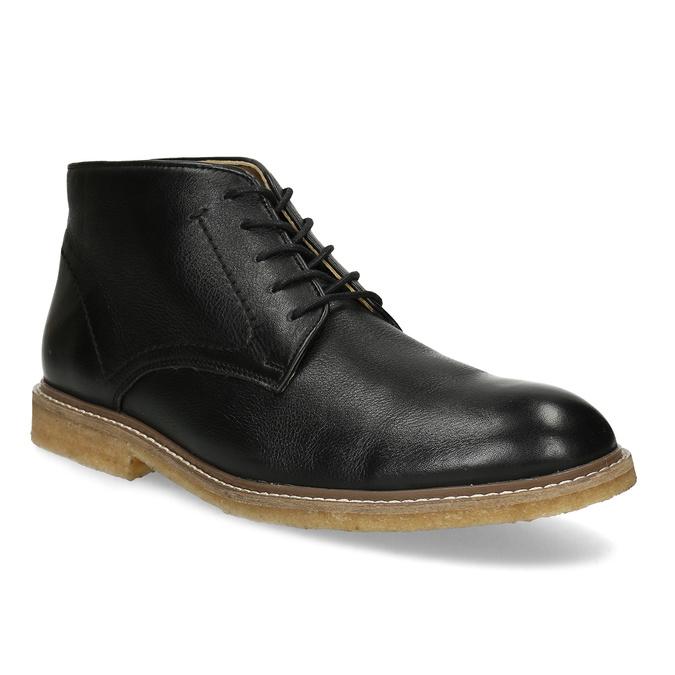 Černá pánská kožená kotníčková obuv bata, černá, 824-6685 - 13