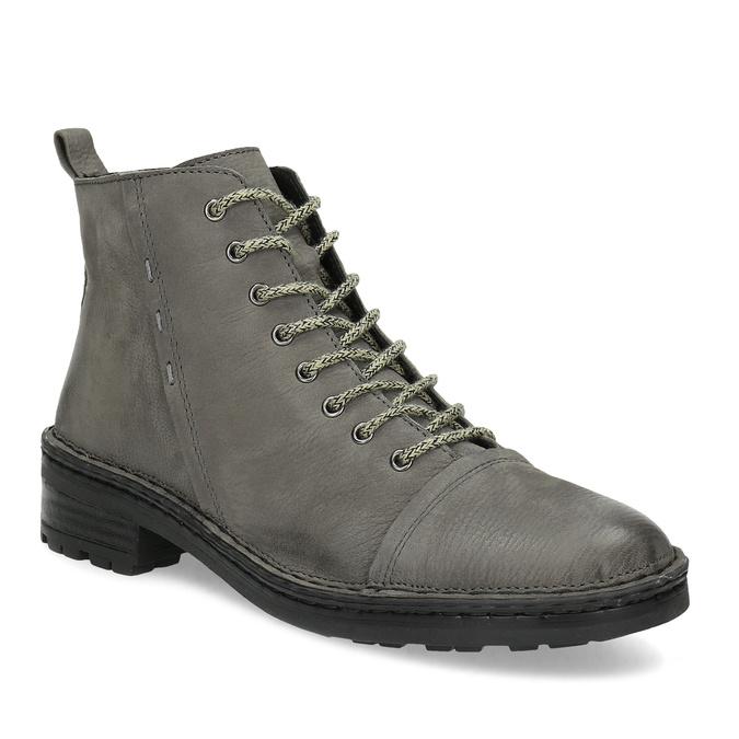 Šedá dámská kožená kotníčková obuv bata, šedá, 596-2604 - 13