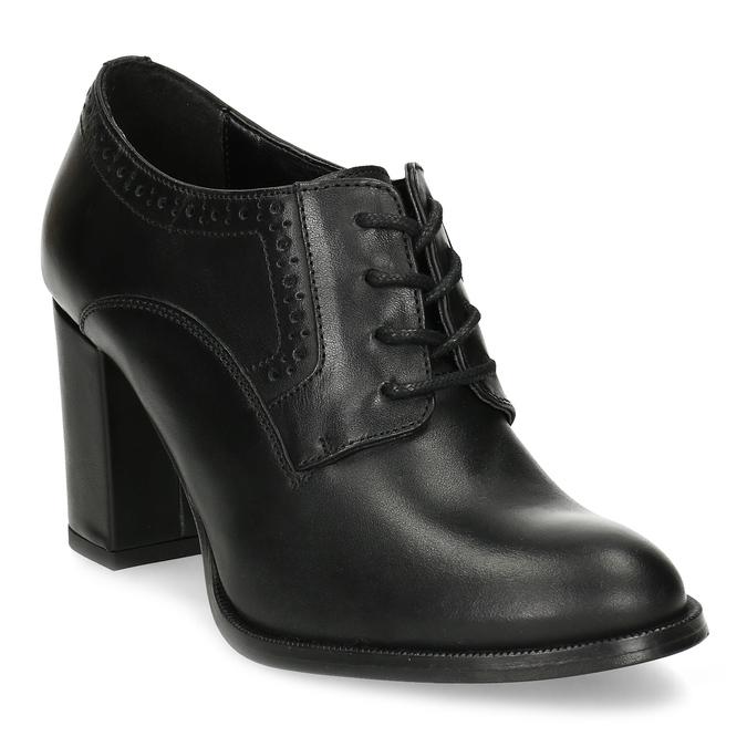 Kotníčkové kožené kozačky na stabilním podpatku bata, černá, 624-6611 - 13