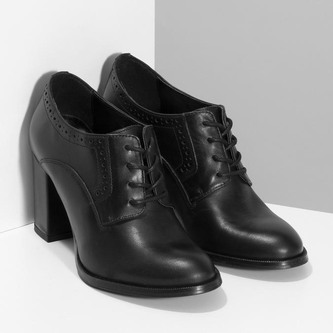 Kotníčkové kožené kozačky na stabilním podpatku bata, černá, 624-6611 - 26