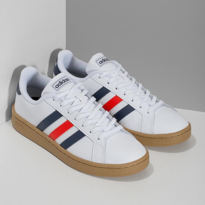 Bílé pánské ležérní tenisky s prošitím adidas, bílá, 801-1163 - 26