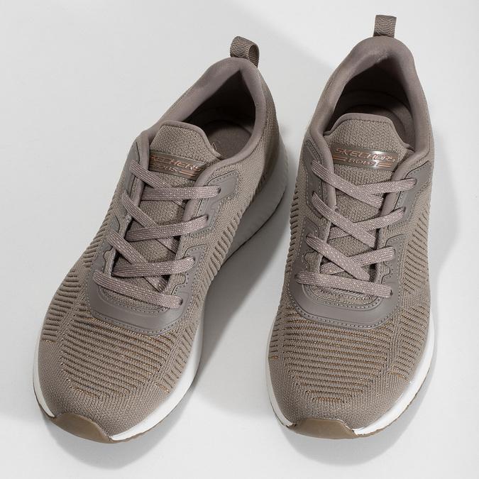 Dámské hnědé tenisky s úpletem skechers, béžová, 509-3122 - 16