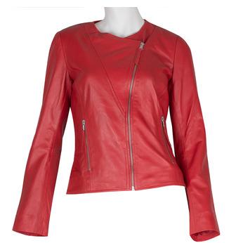 Červená dámská kožená bunda bata, červená, 974-5177 - 13