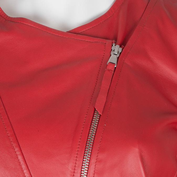 Červená dámská kožená bunda bata, červená, 974-5177 - 16