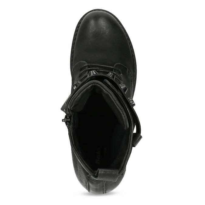 Černé kožené kozačky s kovovými cvoky bata, černá, 596-6600 - 17