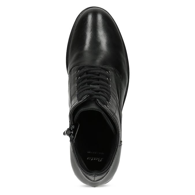 Kožené kotníčkové kozačky na stabilním podpatku bata, černá, 694-6620 - 17