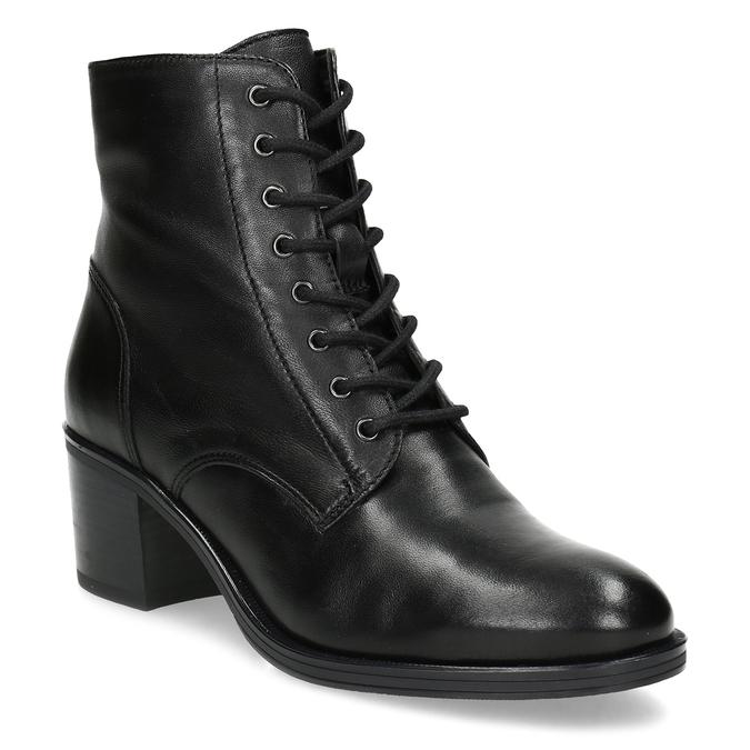 Kožené kotníčkové kozačky na stabilním podpatku bata, černá, 694-6620 - 13