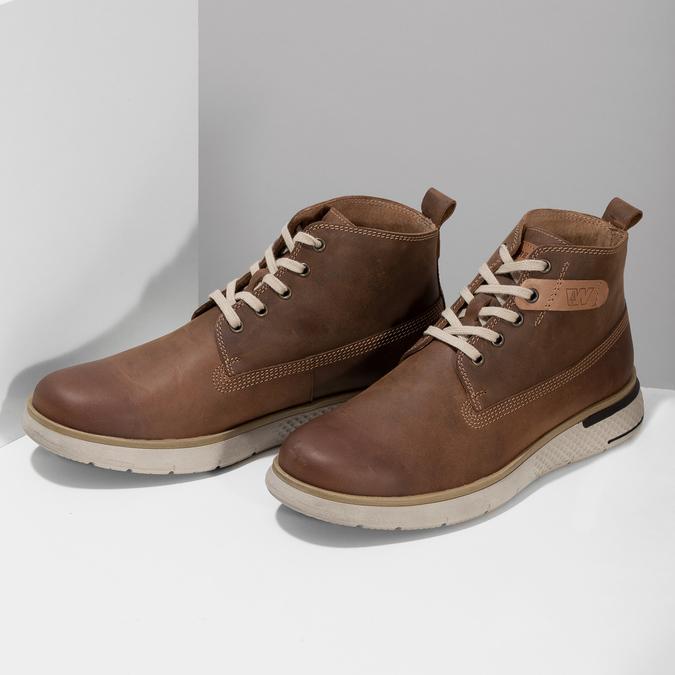 Pánská hnědá kožená kotníčková obuv weinbrenner, hnědá, 846-3638 - 16