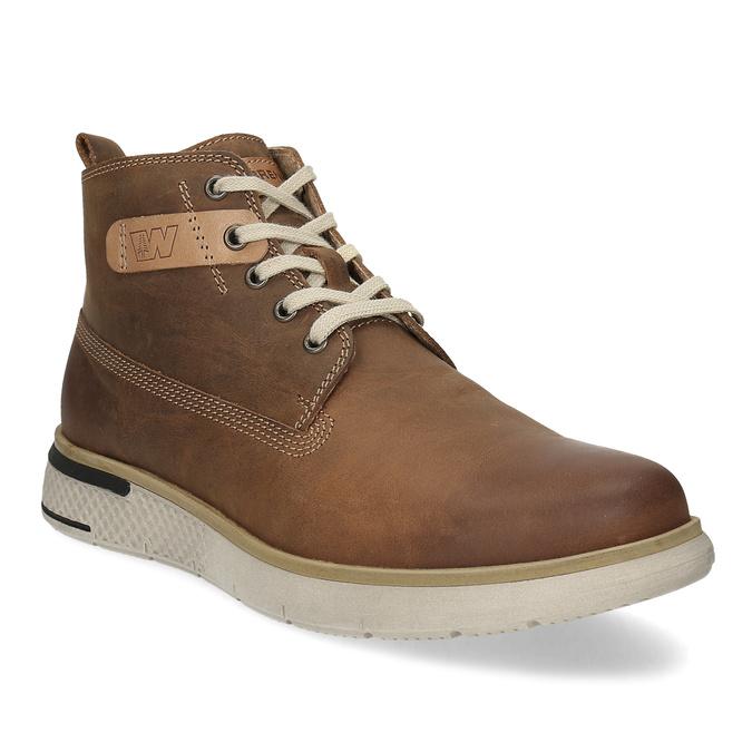 Pánská hnědá kožená kotníčková obuv weinbrenner, hnědá, 846-3638 - 13