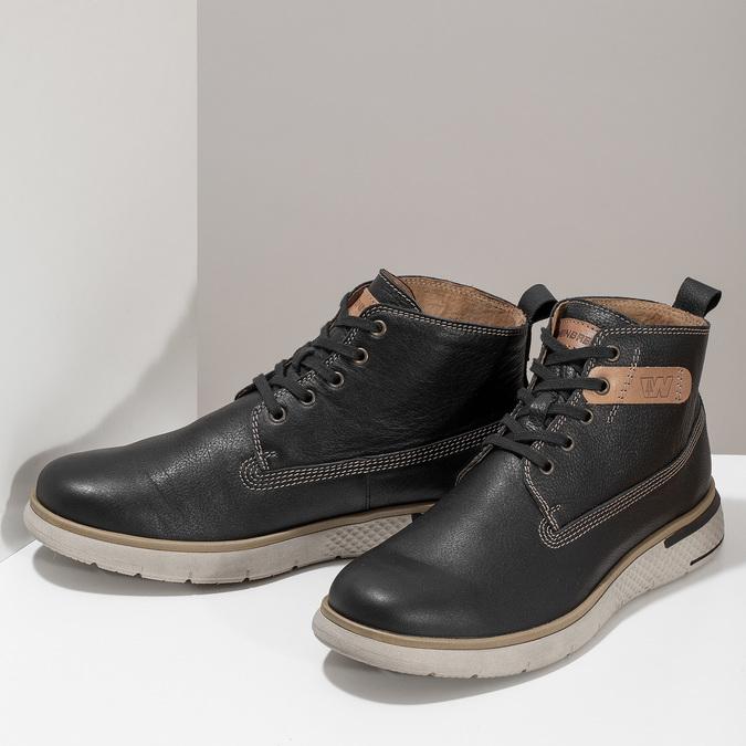 Černá kožená pánská kotníčková obuv weinbrenner, černá, 844-6638 - 16