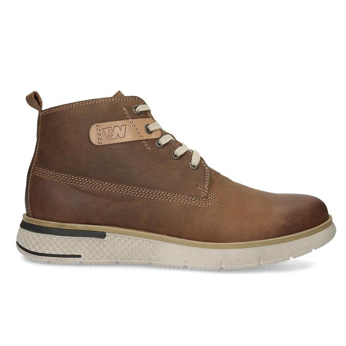 Pánská hnědá kožená kotníčková obuv weinbrenner, hnědá, 846-3638 - 19