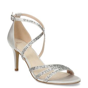 Stříbrné sandály na podpatku s kamínky bata, stříbrná, 729-1609 - 13