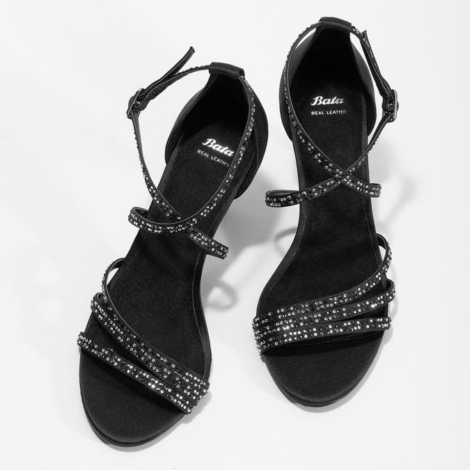 Černé sandály na jehlovém podpatku s kamínky bata, černá, 729-6609 - 16