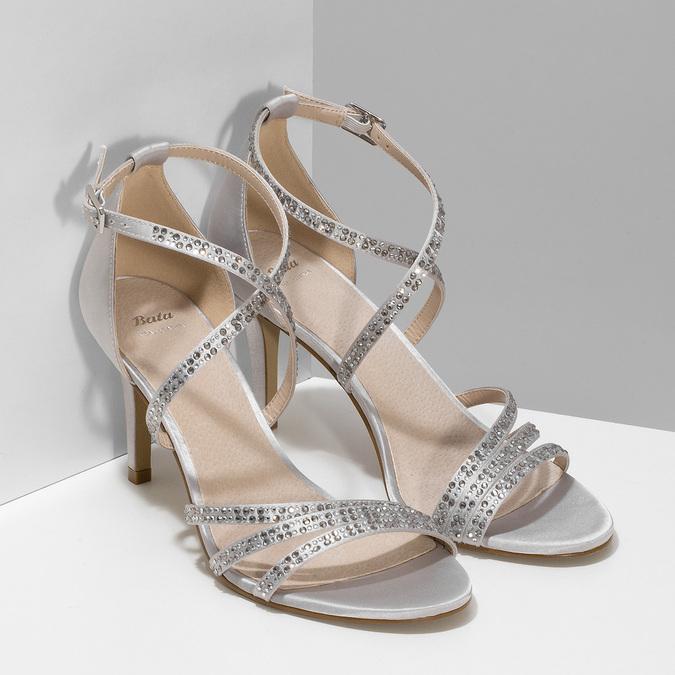 Stříbrné sandály na podpatku s kamínky bata, stříbrná, 729-1609 - 26